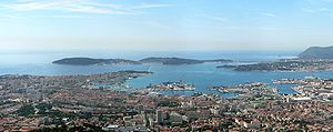 Toulon and its military harbour seen from Mount Faron