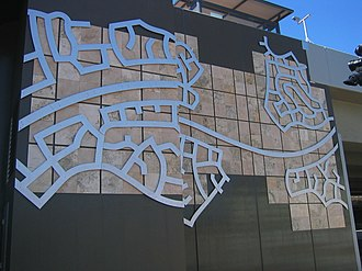 Murdoch railway station - Art work from the south-west carpark in December 2007