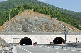 Durrës-Kukës Highway - Kalimashi Tunnel entrance at Thirra