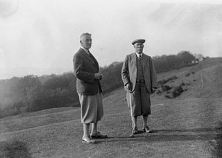 Two men on the tee of a golf course