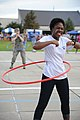 U.S. Air Force Airman Basic Shamiya Hill, foreground, with the 336th Training Squadron, participates in a hula hoop competition during the Air Force's 66th birthday celebration at Keesler Air Force Base, Miss., S 130920-F-BD983-097.jpg