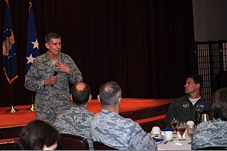 Richard C. Harding - U.S. Air Force Lt. Gen. Richard Harding, left, the judge advocate general, speaks to commanders and first sergeants at a leadership luncheon March 29, 2013, during a visit to Kadena Air Base, Japan