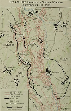 Battle of St Quentin Canal - Map showing the operations of U.S. 27th and 30th Divisions affiliated to Australian Corps as part of British Fourth Army during the Battle of St Quentin Canal, 29 September 1918. The advance shown was actually made by combined American and Australian forces.
