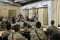U.S. Marine Corps Sgt. Maj. Bryan B. Battaglia, standing right, the senior enlisted adviser to the Chairman of the Joint Chiefs of Staff, speaks to Service members about the future of U.S. forces in Afghanistan 130504-A-CL397-044.jpg