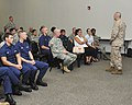 U.S. Marine Corps Sgt. Maj. Bryan Battaglia, standing right, the senior enlisted adviser to the chairman of the Joint Chiefs of Staff, holds a town hall meeting at Ellington Field Joint Reserve Base in Houston 130826-Z-VS466-034.jpg