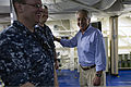 U.S. Secretary of Defense Chuck Hagel visits with sailors on board the USS Freedom (LCS 1) in Singapore, June 2, 2013 130602-D-BW835-740.jpg