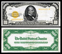 $1,000 Gold Certificate, Series 1928, Fr.2408, depicting Grover Cleveland.