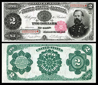 James B. McPherson - Memorialized on the 1891 $2 Treasury Note, and one of 53 people depicted on United States banknotes.
