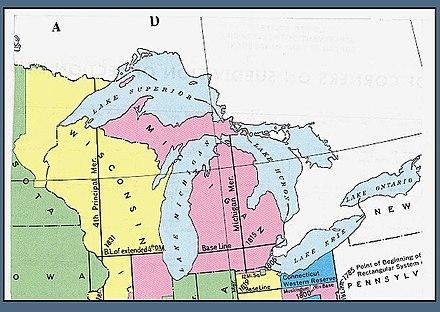 Michigan Meridian Wikiwand - Map of wisconsin and michigan