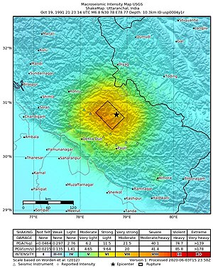 1991 Uttarkashi earthquake - USGS ShakeMap for the event