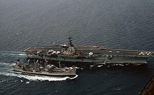 USS Marias (AO-57) - USNS Marias refueling USS Independence, c. 1974.