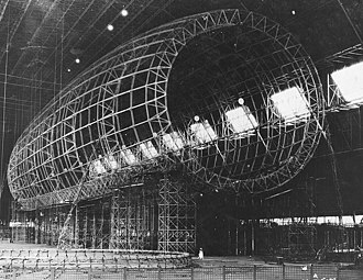 USS Akron (ZRS-4) - Akron under construction in the Goodyear Airdock at Akron, Ohio in November 1930. Note the three-dimensional, deep rings.