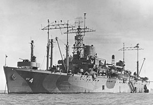 USS Ancon (AGC-4) at anchor, circa in 1945 (NH 99150).jpg