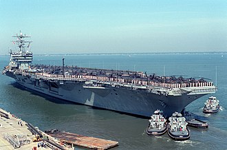 USS Dwight D. Eisenhower - Dwight D. Eisenhower departs Norfolk for Operation Uphold Democracy in 1994.
