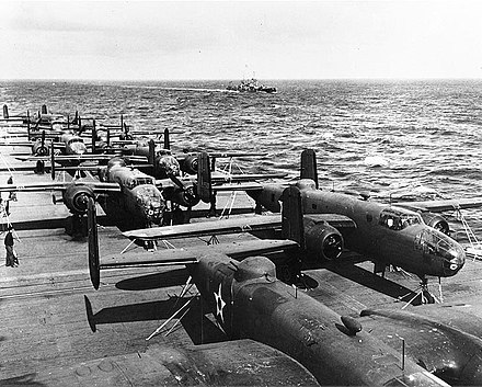 B-25Bs on the USS Hornet en route to Japan USS Hornet flight deck April 1942.jpg