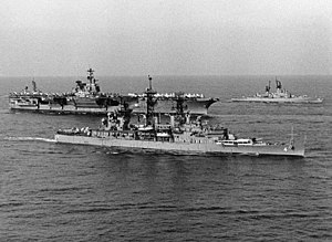 USS Little Rock (CG-4) and USS Saratoga (CV-60) in the Med 1976.jpg