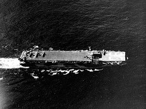 USS Makin Island underway near Leyte, November 1944