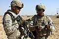 US Army 52935 TAJI, Iraq - Staff Sgt. William Cannon (left), of Taylor, Mich., and Sgt. Jhonny Beldor, of Fredericksburg, Pa., confer about directions during a patrol near Taji Oct. 5. Both non-commissioned officer.jpg
