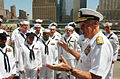 US Navy 060525-N-4936C-006 ommander, U.S. Pacific Command, Adm. William J. Fallon, speaks with Sailors at the World Trade Center Ground Zero site.jpg