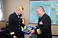 US Navy 070110-N-4124C-041 Commander, Expeditionary Strike Group Seven (ESG-7) Rear Adm. Carol M. Pottenger accepts a plaque from Commandant, JMSDF Sasebo District Headquarters Vice Adm. Yoji Koda.jpg