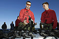 US Navy 081012-N-4954I-008 Gunner's Mate Seaman David Jones, left, from North Pole, Alaska and Aviation Ordnanceman Airman Cody Abadie, from Mccomb, Miss., assist other Sailors during M16A3 rifle certifications.jpg