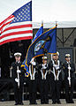 US Navy 081108-N-0437M-156 A color guard composed of midshipmen from the Marquette University Naval Reserve Officers Training Corps present the colors at the commissioning of USS Freedom (LCS 1).jpg