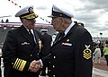 US Navy 091010-N-8273J-224 Chief of Naval Operations (CNO) Adm. Gary Roughead speaks with former Hull Technician First Class Gideon Checote.jpg