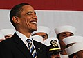 US Navy 091026-N-1522S-006 President Barack Obama stands with service members prior to delivering his remarks during a visit on board Naval Air Station Jacksonville.jpg