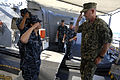 US Navy 100831-N-9818V-728 Master Chief Petty Officer of the Navy (MCPON) Rick West departs the guided-missile destroyer USS Fitzgerald (DDG 62) after touring the ship and meeting with Sailors during his visit to Fleet Activiti.jpg