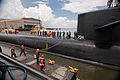 US Navy 110729-N-FG395-022 Line handlers moor USS Tennessee (SSBN 734) to the pier at Naval Submarine Base Kings Bay.jpg