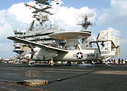 US Navy E-2C Hawkeye carrier landing fuselage detail