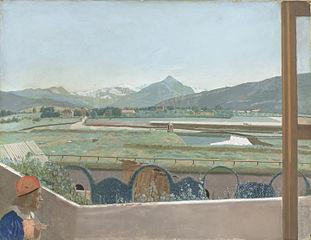 Vue sur le massif du Mont-Blanc du studio de l'artiste à Genève, avec auto-portrait