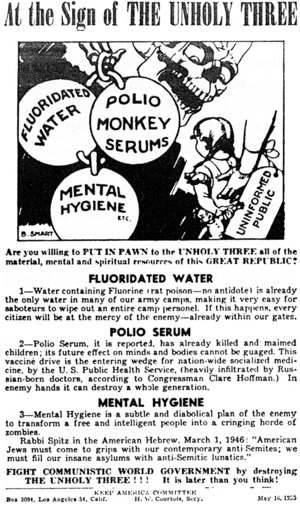 Clare Hoffman - Anti-public health flier which uses Clare Hoffman as a source. Issued in May 1955 by the Keep America Committee, alleging a conspiracy theory that water fluoridation is a communist plot.