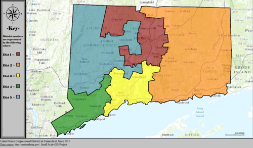 United States Congressional Districts in Connecticut, since 2013.tif