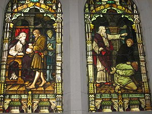 Parable of the Unforgiving Servant - This depiction of the Parable of the Unforgiving Servant on a stained glass window in Scots' Church, Melbourne shows the initial forgiving of the debt, and the final punishment of the unforgiving servant.