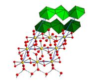 Elementarzelle von Uranylperoxidtetrahydrat