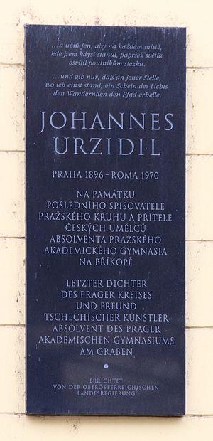 Johannes Urzidil - Memorial Plaque, Prague,  Na Prikope 16 (former Deutsches Staatsgymnasium)