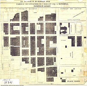 Great Fire of 1852 - Map of buildings destroyed by fire, published in La Minerve, July 15, 1852.