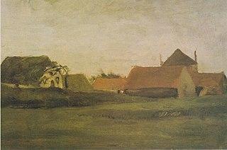 Farmhouses in Loosduinen near The Hague at Twilight