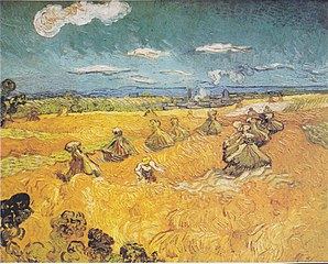 Wheatfield with sheaves and reaper