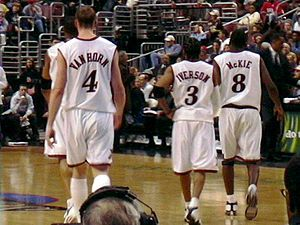 Aaron McKie - McKie with Sixers' teammates Keith Van Horn and Allen Iverson in 2003