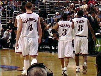 Aaron McKie - McKie with Sixers' teammates Keith Van Horn and Allen Iverson in 2003