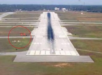 Visual approach slope indicator - Standard visual approach slope indicator (circled in red)