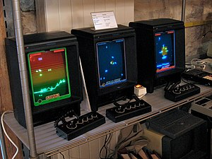 Vectrex - Three European release Vectrex machines running Scramble, Solar Quest, and Star Ship, respectively