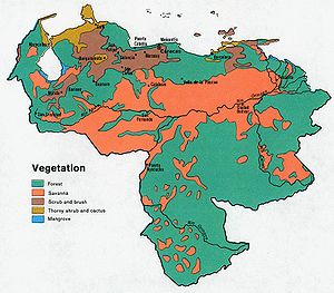 Geography of Venezuela - Vegetation map of Venezuela, 1972