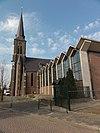 venray leunen, rijksmonument 37219, rk kerk, zijaanzicht met modern kerkuitbreiding ertegen