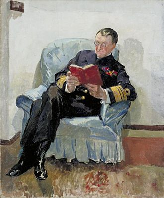 Somerset Gough-Calthorpe -  Portrait by Philip Connard of Gough-Calthorpe on board HMS Superb at Constantinople in November 1918