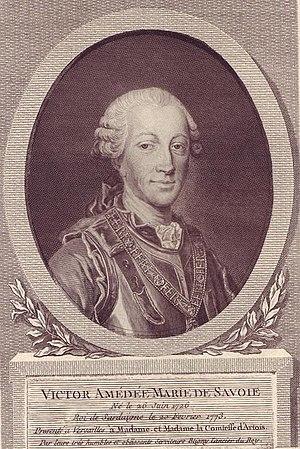 Victor Amédée Marie de Savoie. Né le 26 Juin 1726, Roi de Sardaigne le 20 Fevrier 1773, Presenté à Versailles à Madame et la Comtesse d'Artois.jpg