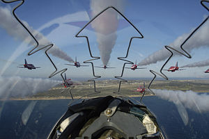 Aircraft canopy - A cockpit view from a BAE Hawk showing the explosive cord in the canopy