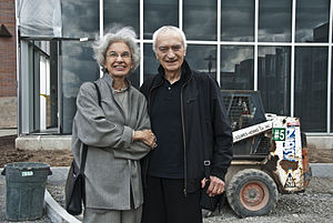 Massimo Vignelli - Lella and Massimo standing in front of the Vignelli Center for Design Studies during construction.